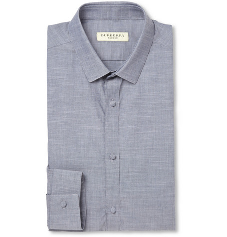 Burberry London Blue Slim-Fit Chambray Shirt