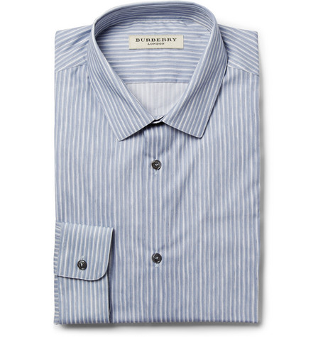 Burberry London Blue Slim-Fit Striped Cotton Shirt