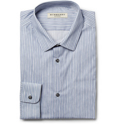 Burberry London Blue and Grey Slim-Fit Striped Cotton Shirt