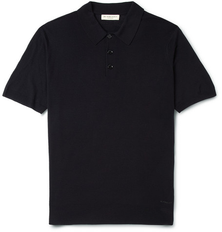Burberry London Fine-Knit Merino Wool Polo Shirt
