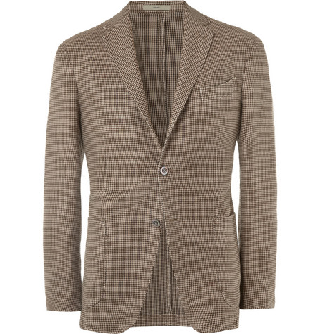 Boglioli Houndstooth Unstructured Linen and Cotton-Blend Blazer