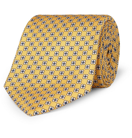 Drake's Flower-Pattern Silk Tie