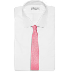 Drake's Herringbone Silk and Linen-Blend Tie