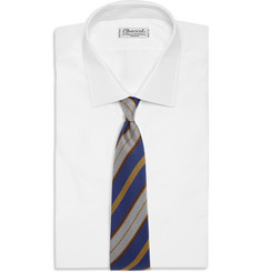Drake's Striped Textured-Silk Tie