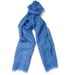 Drake's Lightweight Polka Dot Cotton and Silk-Blend Scarf