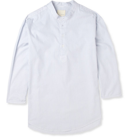 Band of Outsiders Striped Half-Placket Cotton Shirt