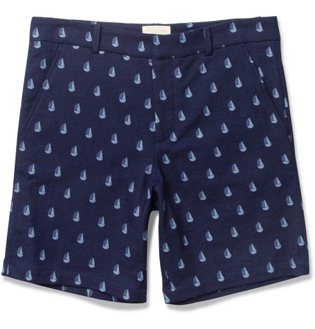 Band of Outsiders Boat-Print Cotton Shorts
