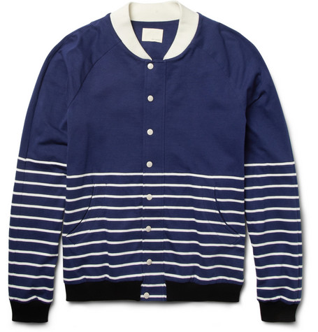 Band of Outsiders Striped Cotton-Jersey Baseball Jacket