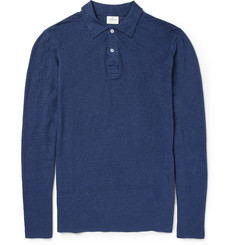 Hartford Long-Sleeved Linen-Jersey Polo Shirt