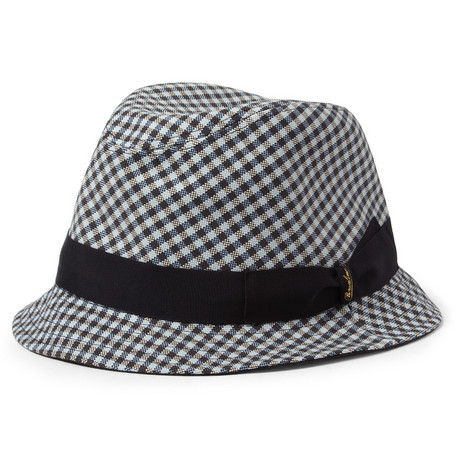 Borsalino Check Cotton Trilby Hat
