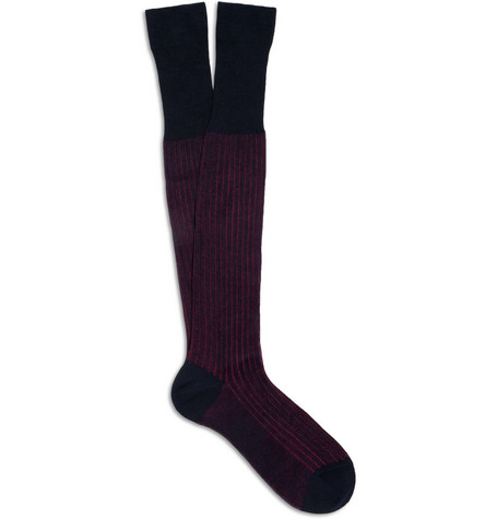 Bresciani Two-Tone Ribbed Cotton Socks