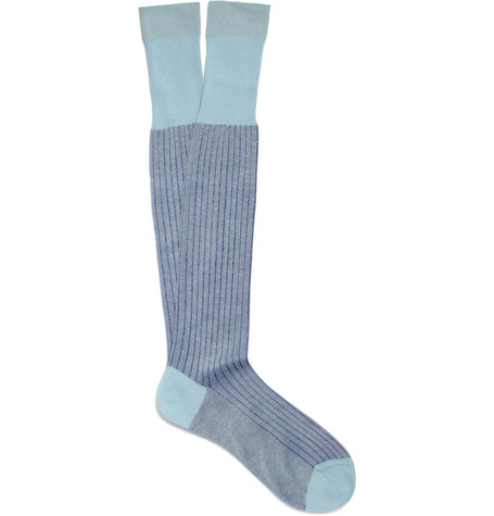 Bresciani Knee-Length Contrast-Rib Cotton Socks