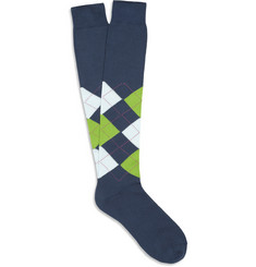 Bresciani Knee-Length Argyle Cotton Socks