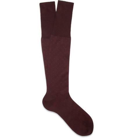 Bresciani Knee-Length Swiss-Dot Cotton Socks