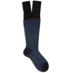 Bresciani Knee-Length Houndstooth Cotton Socks