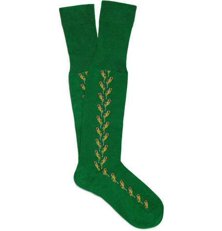 Bresciani Knee-Length Parrot-Patterned Cotton-Blend Socks