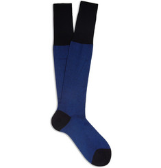 Bresciani Knee-Length Fine-Stripe Cotton Socks