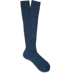 Bresciani Knee-Length Ribbed Cotton Socks