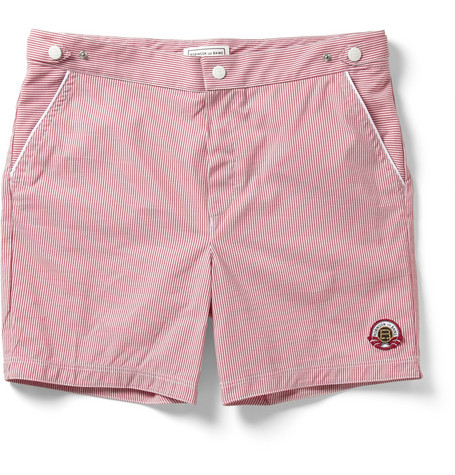 Robinson les Bains Oxford Long Seersucker Mid-Length Swim Shorts