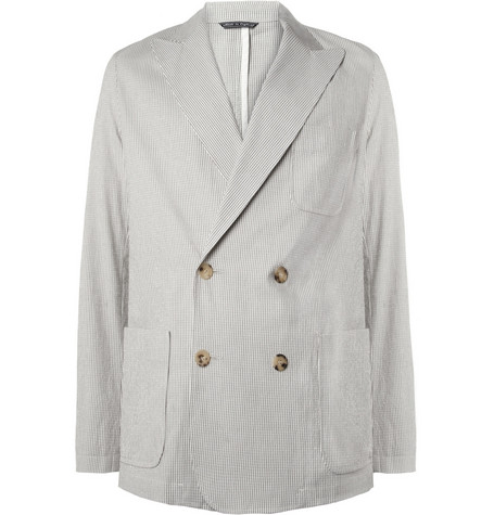 Richard James Unstructured Cotton-Blend Seersucker Blazer