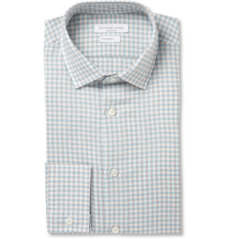 Richard James Blue Gingham Check Linen-Blend Shirt