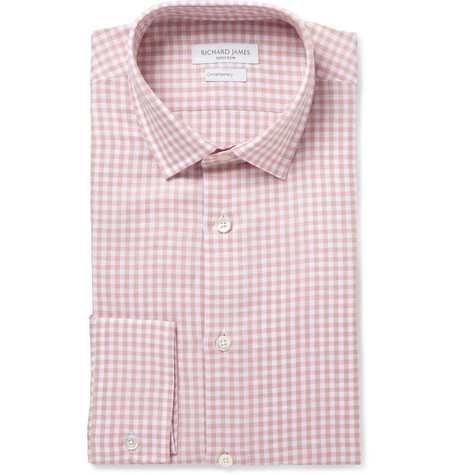 Richard James Pink Gingham Check Linen and Cotton-Blend Shirt