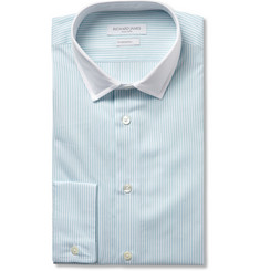 Richard James Blue and White Bengal Stripe Cotton Shirt