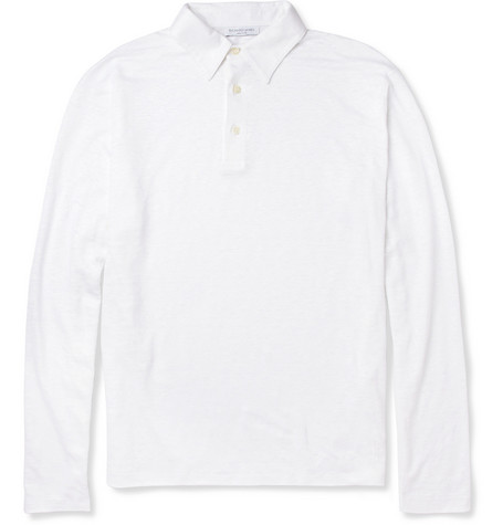 Richard James Long-Sleeved Linen Polo Shirt