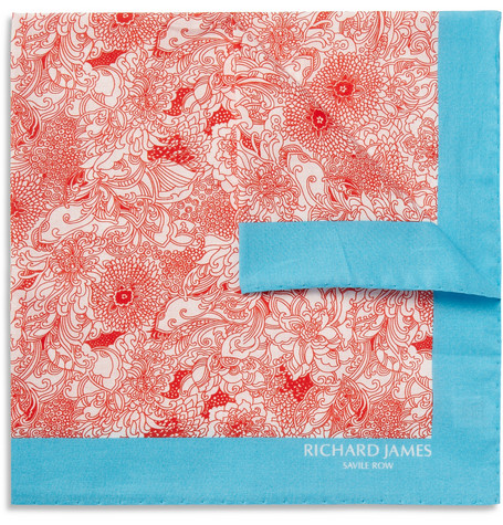 Richard James Printed Cotton Pocket Square