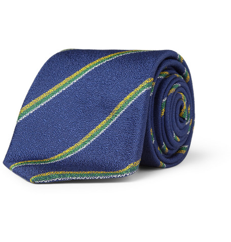 Richard James Striped Textured-Silk Tie