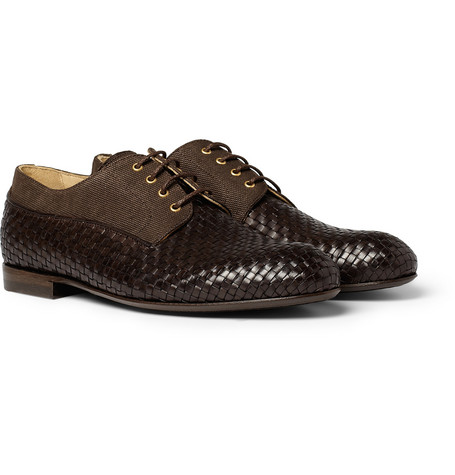 Armando Cabral Papel Woven-Leather and Canvas Derby Shoes