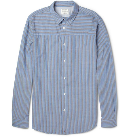 Red Ear Slim-Fit Striped Cotton Shirt