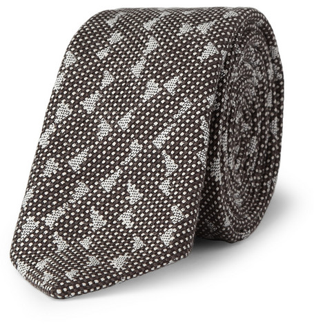 Marwood Wave Woven-Cotton and Silk-Blend Tie