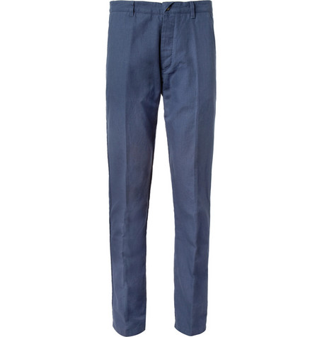 Folk Blue Slim-Fit Cotton-Blend Suit Trousers