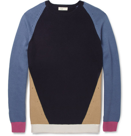 Folk Omar Contrast-Panel Crew Neck Sweater