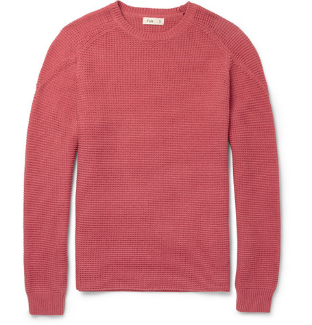 Folk Tuck Ribbed Knitted Pima-Cotton Sweater