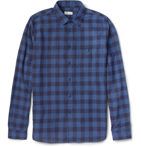Folk Pin Dot and Check Cotton Shirt
