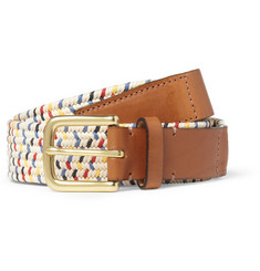 Folk Buckley Leather-Trimmed Elasticated Woven Belt