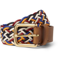 Folk Younger Leather-Trimmed Coated Woven Cord Belt