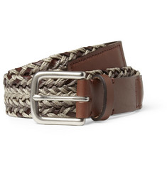 Folk Hall Woven Fabric and Leather Belt