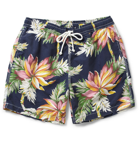 Hartford Hawaiian-Print Mid-Length Swim Shorts