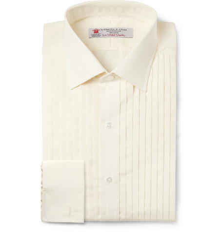 Turnbull & Asser Cream Slim-Fit Cotton Tuxedo Shirt