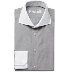 Turnbull & Asser Grey Contrast-Collar Slim-Fit Cotton Shirt