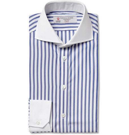 Turnbull & Asser Blue Striped Slim-Fit Cotton Shirt