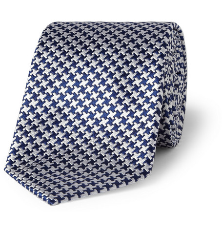 Turnbull & Asser Houndstooth Check Woven-Silk Tie