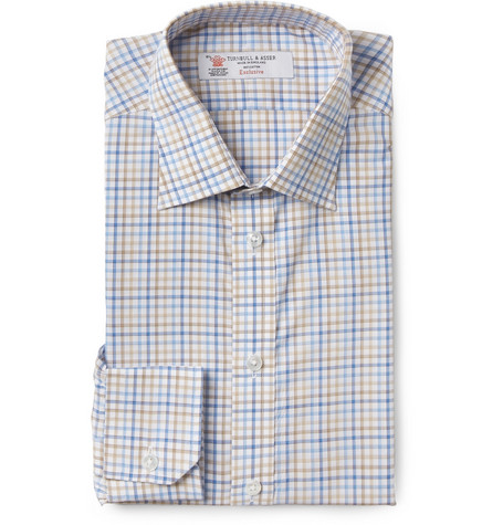 Turnbull & Asser Brown Slim-Fit Check Cotton Shirt