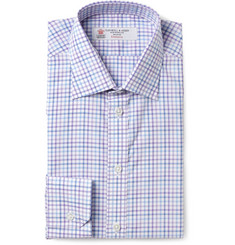Turnbull & Asser Purple and White Slim-Fit Check Cotton Shirt