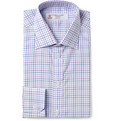 Turnbull & Asser Purple Slim-Fit Check Cotton Shirt