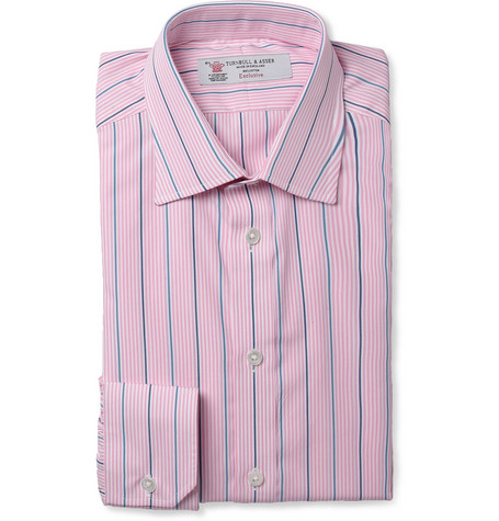 Turnbull & Asser Pink Slim-Fit Striped Cotton Shirt