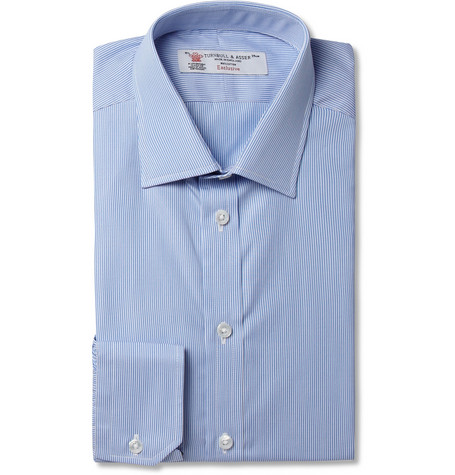 Turnbull & Asser Blue Slim-Fit Fine-Stripe Cotton Shirt